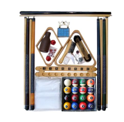Billiard Pool Table Accessory Kit with Modern Style Balls Oak Finish